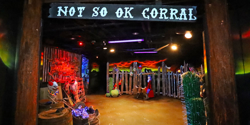 Entrance to the Not-So-OK-Corral in the Frightful Frontier Haunted House at The Children's Museum of Indianapolis.