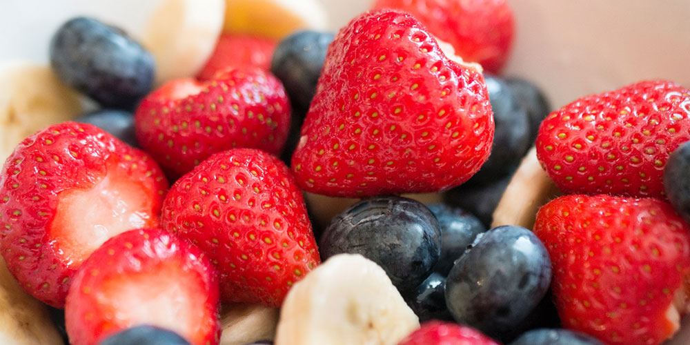 Strawberries, blueberries, and bananas are great on a stick!