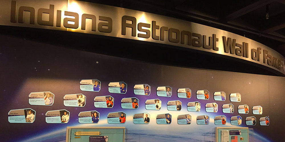 Indiana Astronaut Wall of Fame inside Beyond Spaceship Earth at The Children's Museum of Indianapolis