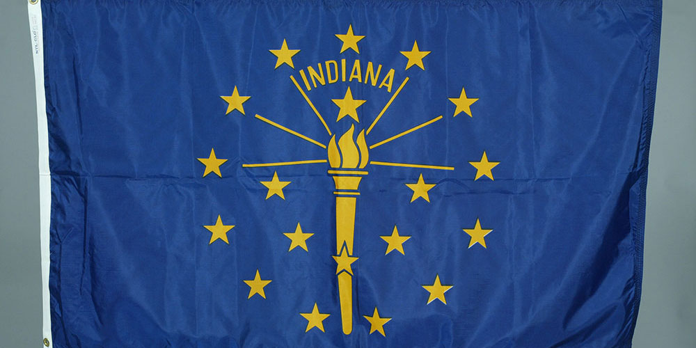 Indiana state flag carried on Space Shuttle Columbia by astronaut Joe Allen in 1982. This is in the museum's Collection.
