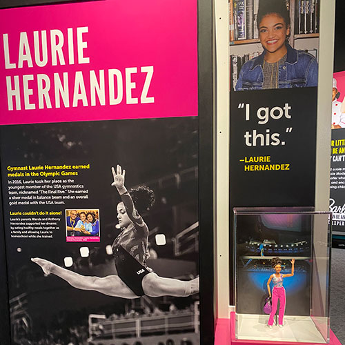 Role Model Laurie Hernandez in Barbie You Can Be Anything: The Experience at The Children's Museum of Indianapolis
