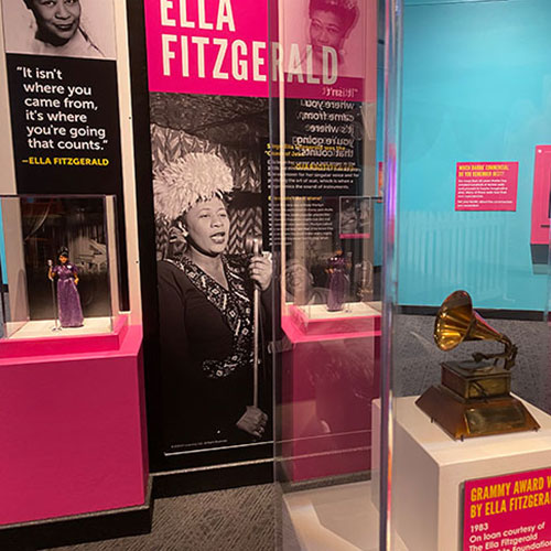 Ella Fitzgerald display in Barbie You Can Be Anything: The Experience at The Children's Museum of Indianapolis